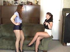 lesbianas brillante medias de la esclavitud