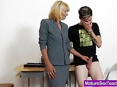 Mommy schoolteacher playing plus a man rod