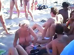 Nude Beach - Hot Exhibitionists Public Orgy