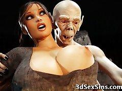 3D Zombie Knullar Lara Croft!