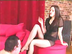 Femdom Pantyhose Foot and Leg Worship