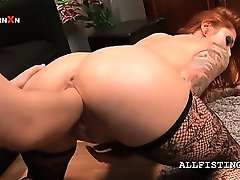 Lesbo slutty redhead cunt fist fucked hardcore on the floor