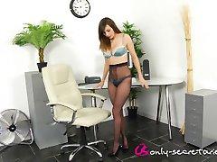 jo e black pantyhose secretary tease