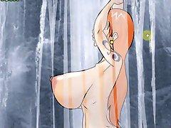 Hentai game Nami fucks her island's intruder (One Piece)