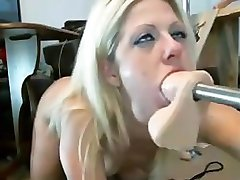 Dumb Blonde Cutie Throat Fucked By Fuck Machine