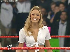 Wrestling babe Stacy Keibler shows off her panties spread eagle