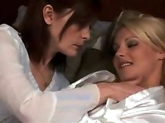 mature girl/girl make out with red-hot blond