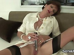 Unfaithful british mature lady sonia shows off her huge breasts