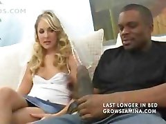 Hot blonde is cuckolding her guy by blowing a big black cock