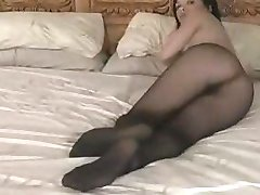 sexy girl in black seamless pantyhose