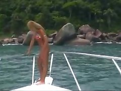 Latina fucking hard in a boat