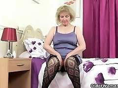 British grandmother Diana going solo in fishnets