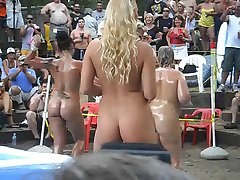 Hot girls outdoor oil wrestling and stuff at ponderosa