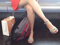 Crossing legs and upskirt