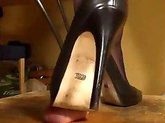 Black high heel pumps milks his cock