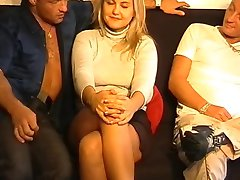 horny blonde fisted and gangbanged