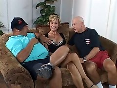 Busty slut wifey is fucked by dude in front of her lazy hubby