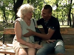 Horny grandmother Norma blows hard dick of a horny stud after kissing