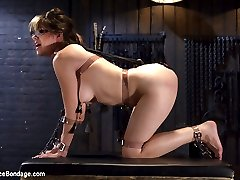 Kat is new on the scene and we finally get her on our pages. She is young and eager to please, and loves to suffer. She is first put in a doggy position with belts and chains. Tens pads are places on her ass and the torment begins. She is then fucked and an ass hook added to keep the slut in the proper mind set.Next she is spread out and exposed for Orlando to torment her little body more. She is caned all over and made to cum over and over until her pussy has no more to give.In the final scene, her body is covered with pegs, then wrapped tightly in plastic wrap. Her pussy is the target and this time it is destroyed.