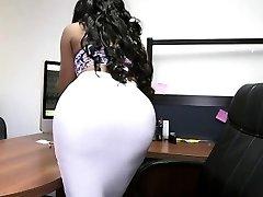 Bouncy bum ebony secretary and white cock