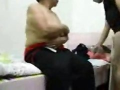Asian Grandma get dressed after bang-out