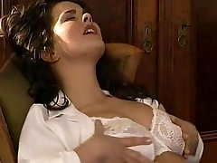 Lesbian Secretary Tongues the Hairy Pussy Therapist