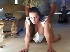 Natural large boobs housewife doggy style drill