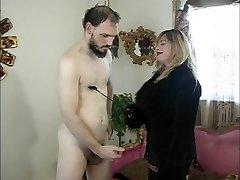Big tits dominatrix Cristian & her slave in act