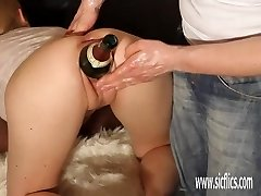 Huge double fisting and bottle insertions