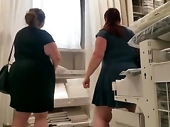 2 bbw pawgs in dresses.