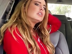 Stranded busty blonde plumbed closeup in car