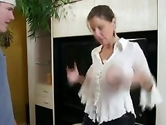 Busty Mom Shows Him Her Thick Tits And Cock-squeezing Pussy