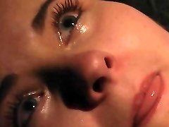 Climax and crying in pain in BDSM bondage
