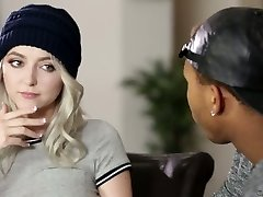 Naughty blond haired busty damsel lures her black neighbor for bi-racial sex