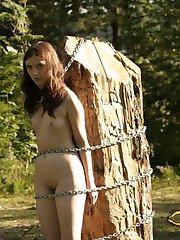 Outdoor bondage is her first step to submission and obedience