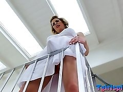 Blonde transgirl Delia De Lions asshole penetrated in 3 way