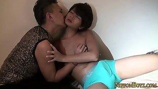 Horny asian teen gets cum