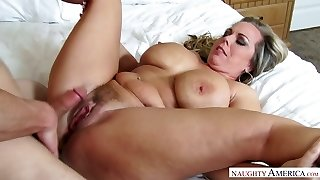 Mega big-chested stepmom Amber Lynn Bach is drilled by horny 19 yo stepson