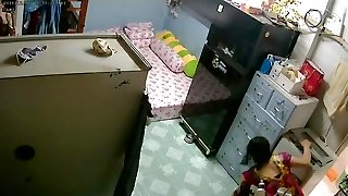 Unsecured Security Camera- Mother & Daughter after Bathtub