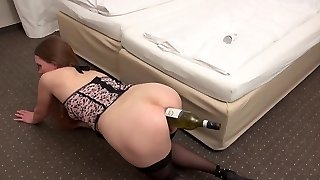 Amateur wide open asshole with bottle of wine