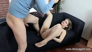 Sizzling blonde with a shaved snatch blows, gets ravaged and takes a geyser