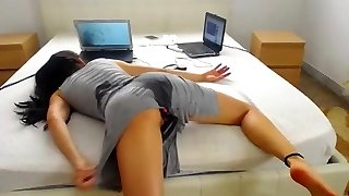 She ass poked herself to bed