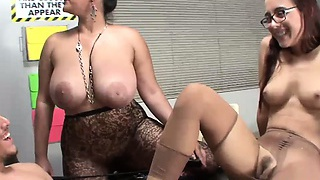 Cumshot on pantyhose after female domination tells student