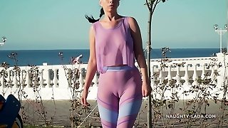 My new transparent workout garment... Check my camel toe out