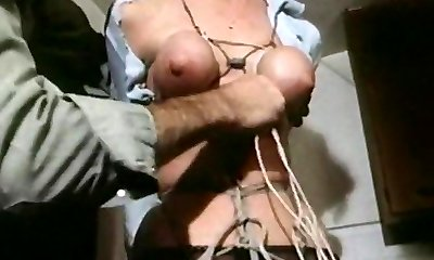 Strung up - antique bondage tits bound tight