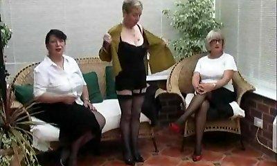 Vintage Disrobing from three Mature Village Ladies