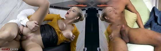 Plowing My New Big Boob Secretary In Office Bathroom
