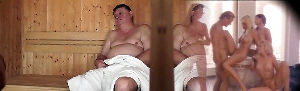 Cute Chick Sucks Bangs Ugly Dude in a Sauna