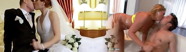 terhead bride has fun before wedding