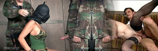 Bound up slut Syren De Mer is face fucked by a duo of kinky soldiers